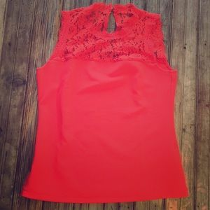 New York & company sleeveless blouse with lace